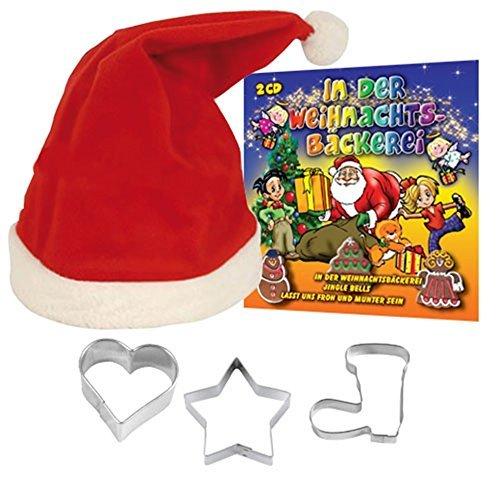 Weihnachtsset MEINE WEIHNACHTSBACKSTUBE mit den schönsten Weihnachtsliedern 2 CD Box + Weihnachtsmütze + Plätzchen Ausstecher Deutsche Ausstecher