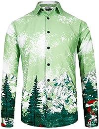 227b16e8e14 BeachWear Men s Shirt Long Sleeve Slim Fit Flower Shirt Cotton Holiday  Casual Shirts Party Floral Shirt