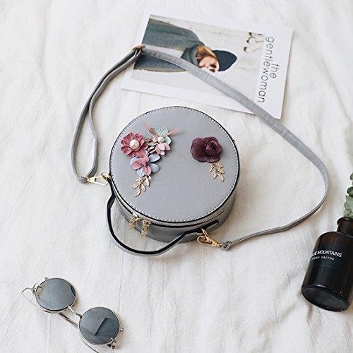 Weibliche Blumendekoration Minibeutel Runden Kurierbeutel-Schulter Kleine Runde Tasche Licht Grau