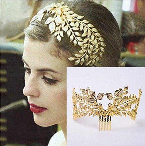 HOMEYU® Barock Extravagant Braut Kopfschmuck Blattgold Krone Tiara Kleid Bankett Blattform Haarschmuck