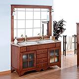 Badmöbel Rustical Cruz 140 cm aus kiefernholz mit glastüren, inkl. 2 waschbecken, spiegel und beleuchtung - Silber