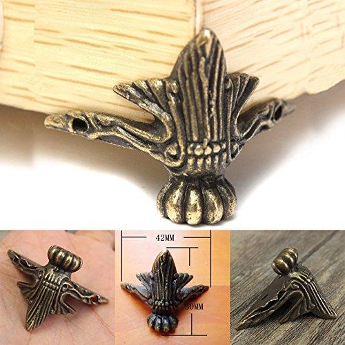 fomccu 4pcs patas de latón envejecido joyas caja de madera esquina protector...