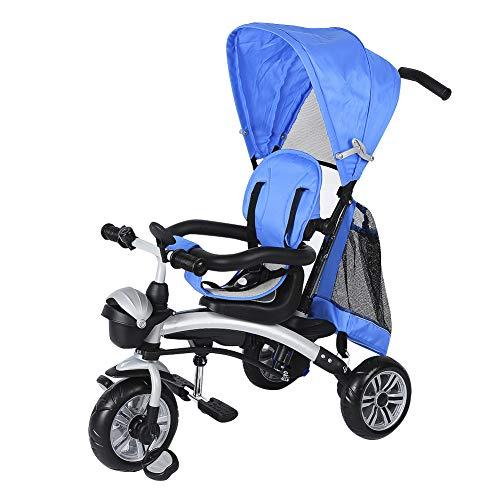 Triciclo Passeggino per Bambini, 4 in 1 Triciclo con altezza regolabile Asta di maniglione spinta e parasole pieghevole da circa 1-5 anni Adatto