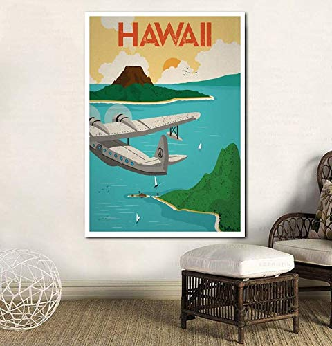 Weinlese-Reise-Plakat-Hawaii-Plakat-Leinwand-Druck-Wand-Kunst-Ausgangsdekor kein Rahmen -