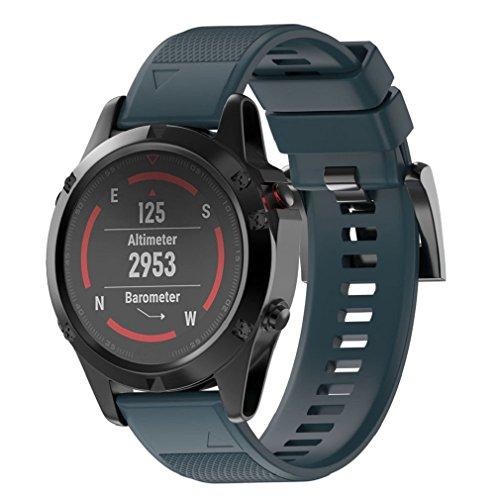 Smart Armband für Garmin Fenix 5 GPS Watch, ESAILQ Ersatz Silicagel Soft Band Strap Für Garmin Fenix 5 GPS Watch (Marine)