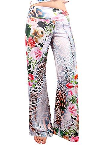 Niseng Donne Casuale Stampa Floreale Pantaloni A Palazzo Estate Allentati Pantaloni Vita Bassa Pantaloni Gamba Larga Stile 14#