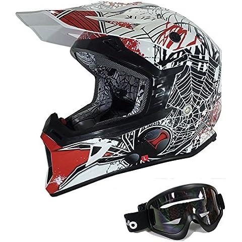 Adultos Motorcycle Racing Casco Viper X95moto motocicleta Off road Motocross casco enduro Cascos estéreo de patinete Quad con gafas negro Viuda (S, rojo)