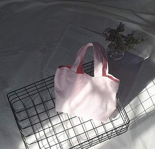 WWUUOOPRT Sac de Pique-Nique Sac Sac Sac de boîte à Lunch Portable Couleur Unie Simple Toile (Rose) f4e634
