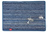 Heating Mat Desk warmset Foot Warmer electric 100W measures 75x 50cm for the Heating Lower Limbs in the location of Work Made in Italy Blue Chenille Fabric With Fund Insulation