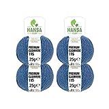 100% Premium Kaschmir Wolle in 12 Farben (weich & kratzfrei) - 100g Set (4 x 25g) Fingering - Edle Cashmere Wolle zum Stricken & Häkeln von Hansa-Farm - Petrol/Taubenblau (Blau)