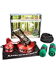 Ultrasport Slackline Set 15 m with ratchet protection, tree protection and safety rope