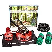 Ultrasport - Set de slackline con cinta de 15 m, protector de carraca, protector de árbol y cuerda auxiliar