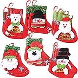 SERWOO (12 * 8 * 16 cm) 12pz Mini Calze di Natale Portaposate Natalizie Decorazioni per Albero di Natale Tavola Tavolo da Appendere Tasche Babbo Natale Pupazzo di Neve Orso