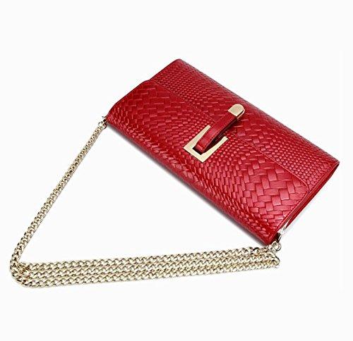 Z&N Europäisch weiblich Mode Kette Umhängetasche Abendtasche Diagonalpaket Handtasche Geldbörse geeignet für Arbeit Freizeit Reisen Outdoor Hochzeit Party red