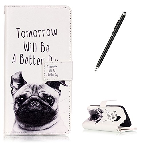 CaseHome Compatible for Samsung Galaxy S7 en Cuir Coque Multifonction Portefeuille Design Etuis Book Style Livre Folio PU Cuir Coque Housse-Chiot Mignonne (Tomorrow Will Be A Better Day)