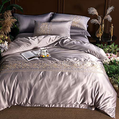 JR%L Europäische Einfache Silk Bettwäsche Cover Sets, Einfarbig Sommer Königin König 4 STK. Zeitloses Design Bettwaren Falten Fade Beständig Bettwäsche Set-i King -