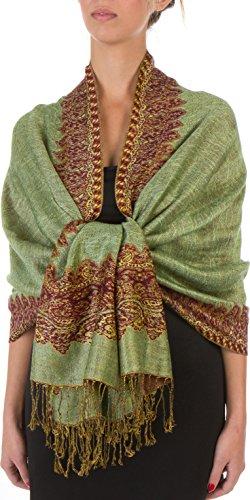 Sakkas Border Muster geschichteten Reversible Woven Pashmina Schal Schal Wrap Stola - Apfelgrün (Muster Reversible Schal)