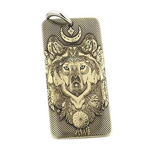 LINSION Indian Tribal Wolf Brass Dogtag Mens Biker Rock Punk Pendant Necklace 9X031B (40MM*20MM)