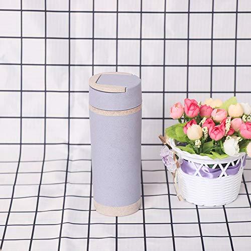 YXBB Weizenstroh Unisex Wasserflasche Doppel Plastik Weizen Doppel Flasche Wasser 400ml 2