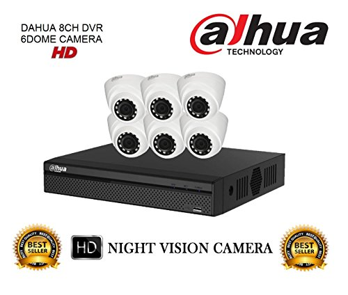 Dahua Hdcvi Dh-hcvr4108hs-s2 8ch Dvr + Dh-hac-hdw1000rp-0360b Dome Camera 6pcs Cctv Combo
