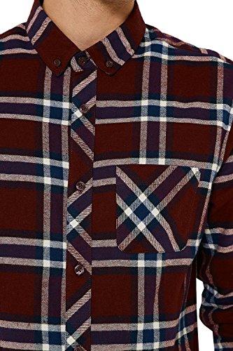 Threadbare Herren Boyfriend Freizeit-Hemd rot rot Small Burgundy - Red