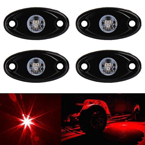 TUINCYN 4 schoten Rote LED Rock Lights Wasserdichte Kit Neon Trail Rig Lichter für ATV SUV Lkw Boot Unterboden Glow