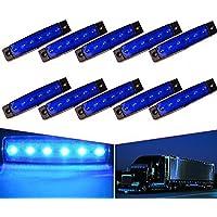 "VIGORFLYRUN PARTS LTD 10x 6 LED 3.8"" Luces Laterales del Marcador Luz de Gálibo para 24V Remolque Camioneta Caravana Camión Camión Autobús SUV - Azul"