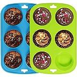 Lot de 2 grands moules à 6 muffins en silicone anti-adhésif - Bleu-vert