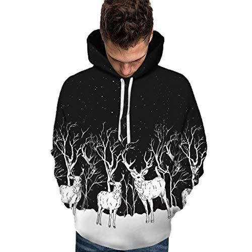 Aoogo Unisex Kapuzenpullover Weihnachten Anzug Muster 3D Print Langarm Caps Sweatshirt Pullover New Christmas Style Paares Weihnachten 3D gedruckt Langarm Hut Bluse