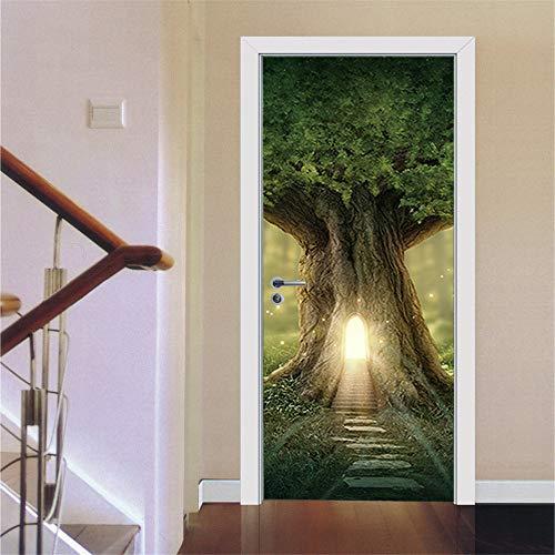 Adesivo Per Porta Stereo Foresta Luminosa Casa Sull'albero 3D Adesivo Da Parete Speciale Arte Murale Soggiorno Arredamento Camera Da Letto (2PCS)