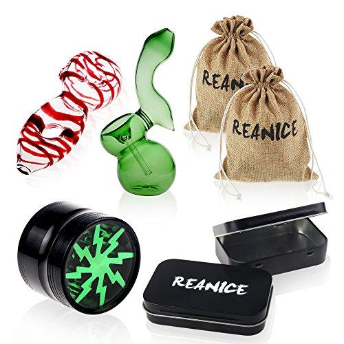 REANICE PIPE 2-PACK glaspfeife kickloch Rauchen geblasenes Glas Pyrex + 1-PACK Tabak schleifer herb schleifer handarbeit +2-PACK Der Schwarze metallbox, Tabak - Kiste