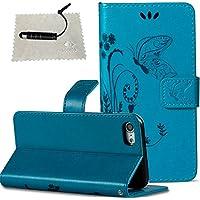 TOCASO PU Leder Schmetterling Blumen Schutzhülle für Apple iPhone 7 Hülle [Strap] Flip Wallet Case,Build-in Stand... preisvergleich bei billige-tabletten.eu