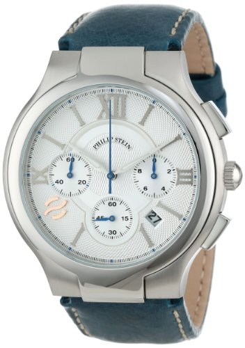 Philip Stein Men's 45-CRSIL-CSTN Round Silver Chronograph Dial Navy Stitched Calf Strap Watch