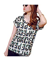 Bold N Elegant Women's Polychiffon White & Multicolor Alphabet Printed Summer/Beachwear Casual Top
