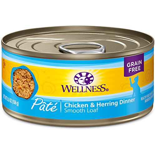 Wellness Complete Health Natural Canned Grain Free Wet Cat Food, Chicken & Herring Pate, 5.5-Ounce Can by Wellness Natural Pet Food Wellness Pet Food