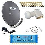 FUBA 12 TEILNEHMER DIGITAL SAT ANLAGE DAA650A + Opticum LNB 0,1dB FULL HDTV 4K + PMSE Multischalter 5/12 + 35 Vergoldete F-Stecker Gratis dazu
