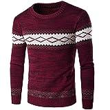 WL-Sweater Herren Pullover Europäischen und Amerikanischen Wind warm Diamantpaste, Hedging, Langarm der Jacquard, Wein rot, XXXL