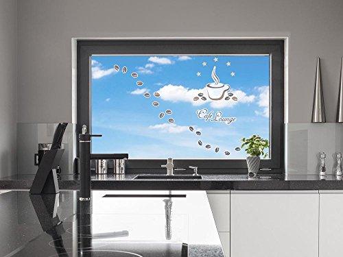 GRAZDesign 911134_57x57_GK_GS Fenstersticker Glassticker Sticker Set für Küche Spruch Café Lounge...