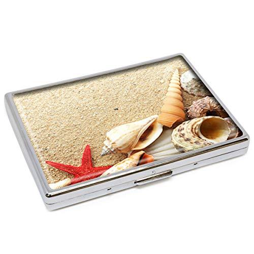 Beach Seashelsl Vintage Sommer Muschel Natur Muster Fashion Silber Edelstahl Zigarettenetui Halter Zigaretten Box Aufbewahrung Etui Stilvolle ID Kreditkarte Wallet Schutzhülle