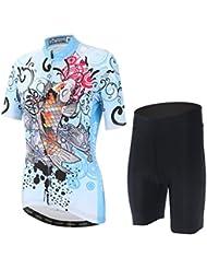 Skysper Mujeres Jersey + Pantalones cortos Mangas cortas de Ciclismo Ropa Maillot Transpirable para Deportes al aire libre Ciclo Bicicleta