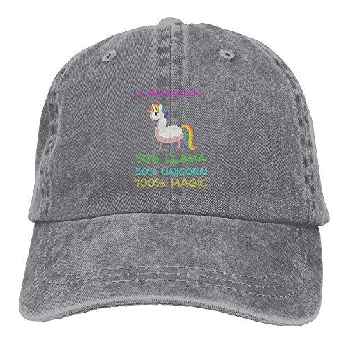 kslae Hombres Mujeres Llamacorn Lindo Llama Unicornio Gorra de béisbol Jeanet Gorra de Camionero Ajustable