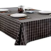 Premium (enrejado blanco y negro) limpie el mantel limpio, estilo rústico, rectángulo