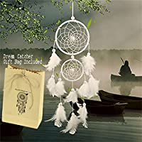 BESTIM INCUK White Dream Catcher Handmade Circular Net with Feathers for Wall Car Hanging Decoration Ornament Craft Gift