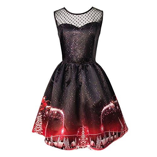 iShine Weihnachten Kleid Damen Ärmellos Rockabilly Kleid mit Weihnachtsmann Festlich Kleid für damen Swing Kleid Partykleid Cocktailkleid-BK-L