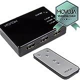 Movoja® [ 3 Port HDMI-Umschalter-3-auf-1 / HDMI-Switch 3-in-1-out ] NEUSTES MODELL 2017   3 Ports IN / 1 x OUT inkl. Fernbedienung [mit Verstärker]   automatische und manuelle HDMI-Verteiler HDMI-Hub Umschaltung HDMI-switch/verteiler HDMI-Switcher