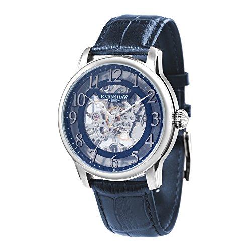 Thomas Earnshaw Longitude ES-8062-05 Montre mécanique pour homme Avec cadran bleu à mécanisme apparent et bracelet en cuir bleu