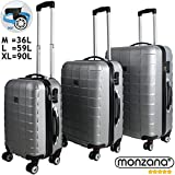 3 Pieces Hardshell Luggage Suitcase Lightweight Travel Baggage 4 Wheeled Spinner Roller Silver