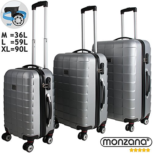 3 Pieces Hardshell Luggage Suitcase Lightweight Travel Baggage 4 Wheeled Spinner Roller Silver M L XL Trolley