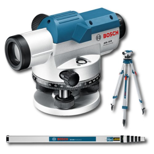 Bosch Professional GOL 32 D - Nivel óptico, 360º, 32 aumentos, regla graduada GR500, trípode BT160, protección de la lente, plomada, maletín (precisión: 1 mm - 30 m)