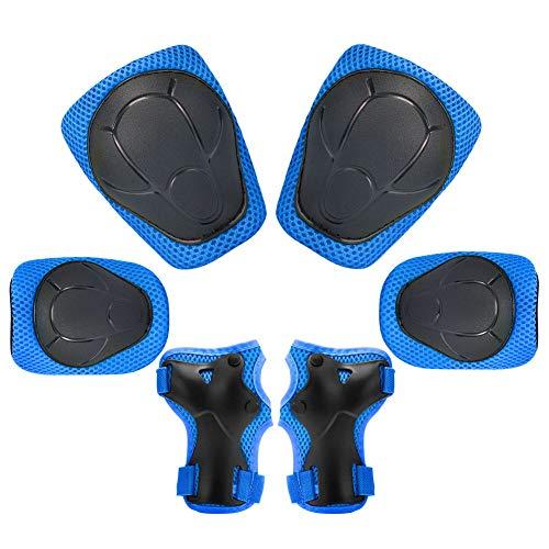 KUYOU Kinder Knieschoner Set 6 in 1 Kit Schutzausrüstung Knie Ellbogenschützer (Blau)